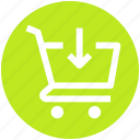 arrow, cart, down, ecommerce, shopping, shopping cart icon