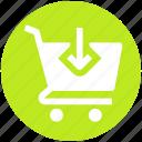 shopping, cart, down, arrow, shopping cart, ecommerce