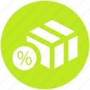 box, carton, pack, packaging, percent, percentage icon