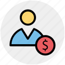 dollar, dollar coin, employee, man, people, salary, user icon