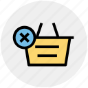 basket, clothes basket, delete, ecommerce, reject, shopping, shopping basket icon