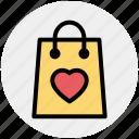 bag, ecommerce, hand bag, heart, love, shopping bag icon