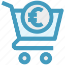 basket, cart, ecommerce, euro sign, money, shopping, shopping cart icon
