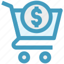 basket, cart, dollar sign, ecommerce, money, shopping, shopping cart icon