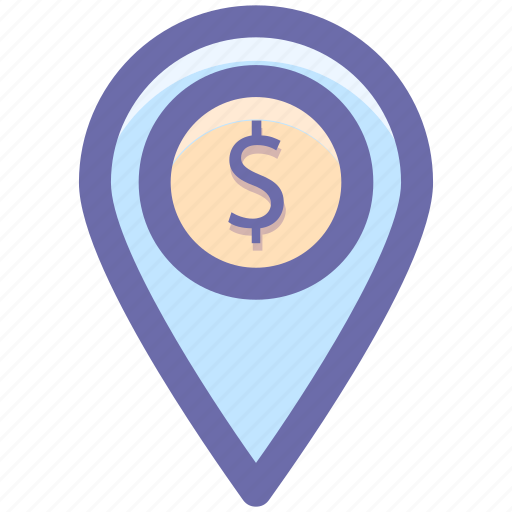 direction, dollar, location, map, map pin, money location, pin icon