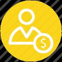 dollar, dollar coin, employee, man, people, salary, user icon