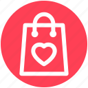 bag, ecommerce, hand bag, heart, love, shopping bag icon