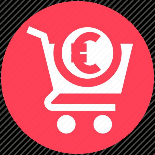 basket, cart, ecommerce, euro sign, money, shopping, shopping cart icon
