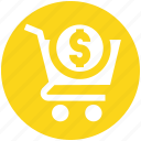 basket, cart, dollar sign, ecommerce, money, shopping, shopping cart