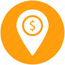 direction, dollar, location, map, map pin, money location, pin