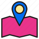 ecommerce, internet, map, online, payment, position, shopping icon