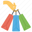 hand bags, holding bags, purchaser, shopping, shopping bags icon