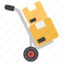 cargo service, hand truck, logistics delivery, luggage trolley, package delivery icon