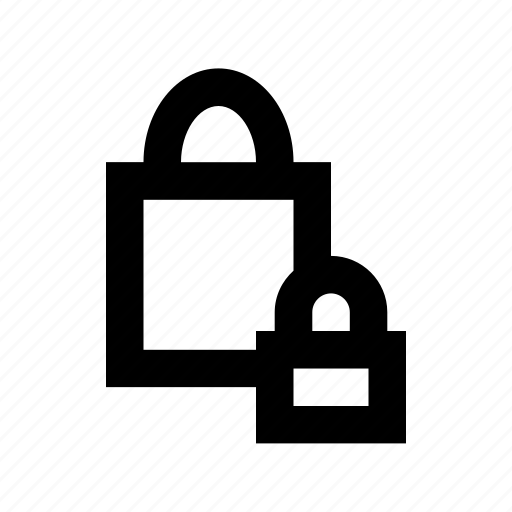 lock, retail, safe shopping, secure shopping, shopping bag icon