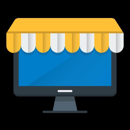 market, monitor, online, shopping icon