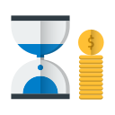 hourglass, is, money, shopping, time icon