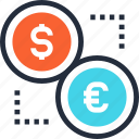 cash, coin, currency, dollar, euro, exchange, money icon