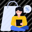 shopping sale, shopping discount, sale, purchase discount, shopping girl