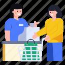 shopping counter, cash counter, store counter, salesgirl, buying counter