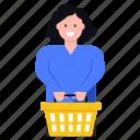 shopping bucket, shopping basket, shopping wicker, shopping cart, shopping girl