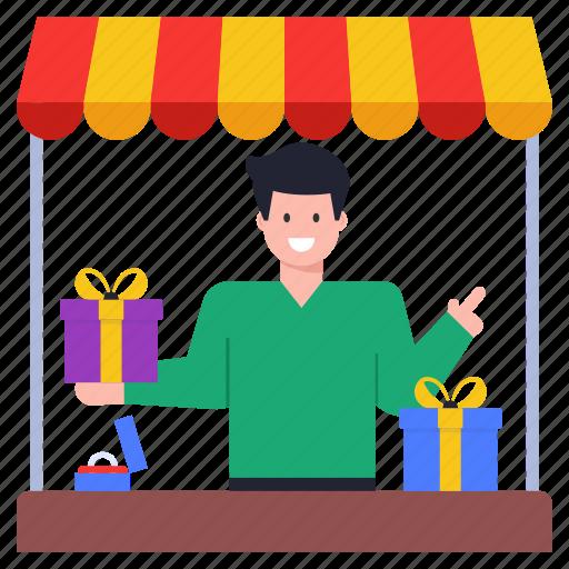Vendor, gifts shop, gift store, gifts outlet, shop illustration - Download on Iconfinder