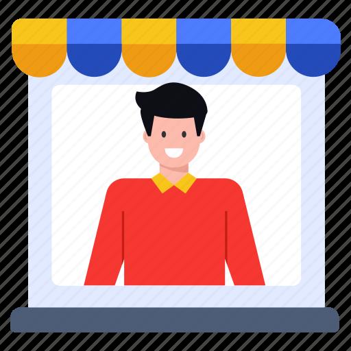 Shop, shopkeeper, retailer, vendor, storekeeper illustration - Download on Iconfinder