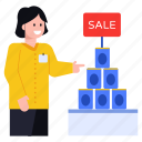 sale, products on sale, discounted products, sales girl, shopping sale