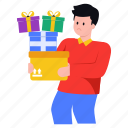 gifts delivery, delivery boy, gifts, parcels, packages