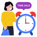time for sale, sale time, shopping time, alarm clock, timer