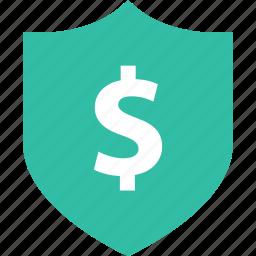 dollar, online, sales, shield, shop icon