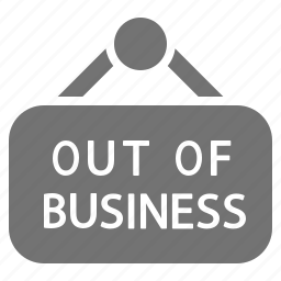 bankruptcy, business, closed, economy, failed, inactive, sign icon
