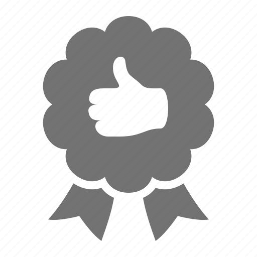 award, label, like, premium, prize, quality, ribbon, thumb icon