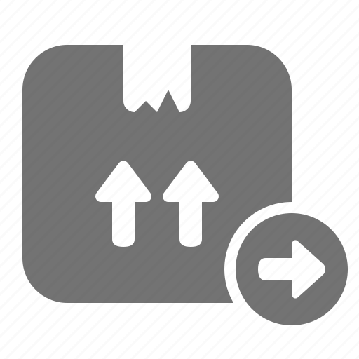 arrow, box, cardboard, checkout, delivery, package, shipping icon
