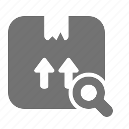 box, cardboard, delivery, magnifier, package, search, shipping icon