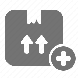 add, box, cardboard, delivery, package, plus, shipping icon