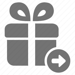 arrow, checkout, gift, go, package, present, send icon