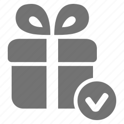 check, checkout, gift, mark, package, present, verify icon