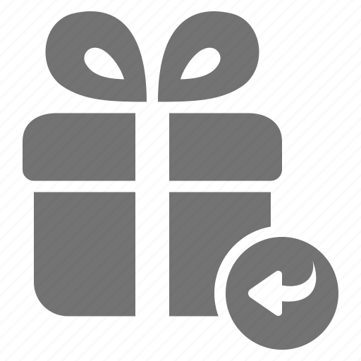 arrow, consumerism, gift, package, present, return, shop icon