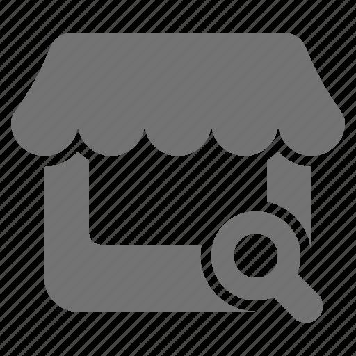 commerce, magnifier, outlet, retail, search, shop, store icon