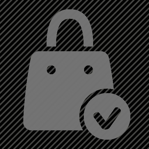 bag, check, mall, mark, shop, shopping, verify icon