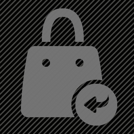arrow, bag, mall, retail, return, shop, shopping icon