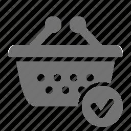 basket, check, checkout, mark, shop, shopping, verify icon