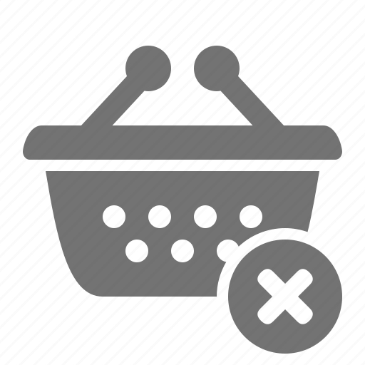 basket, cancel, retail, shop, shopping, store, supermarket icon