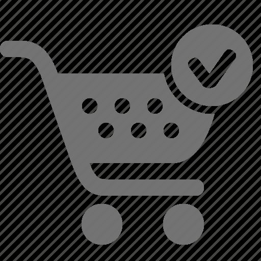 buy, cart, check, checkout, mark, shopping, verify icon