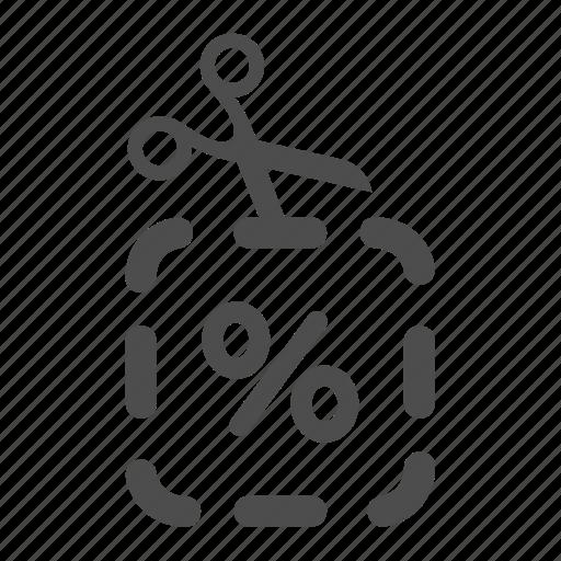 percentage, reduction, scissors icon