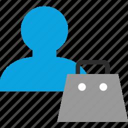 bag, boss, person, user icon