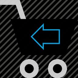 back, cart, left, shopping icon
