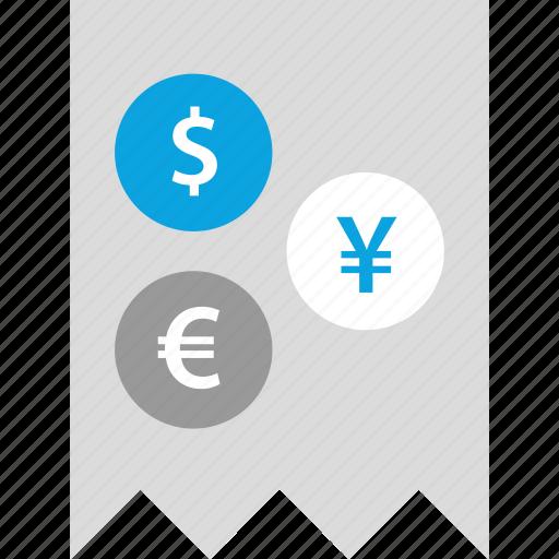 dollar, euro, receipt, yen icon