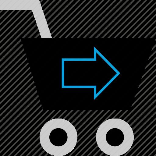 arrow, cart, go, shopping icon