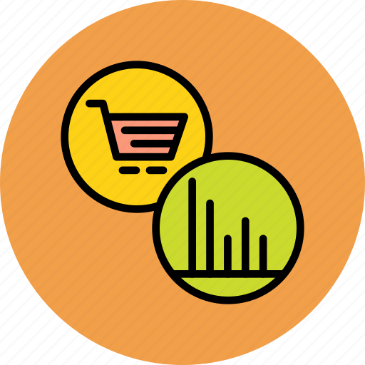 analysis, cart, expenditure, finance, graph, online, shopping icon